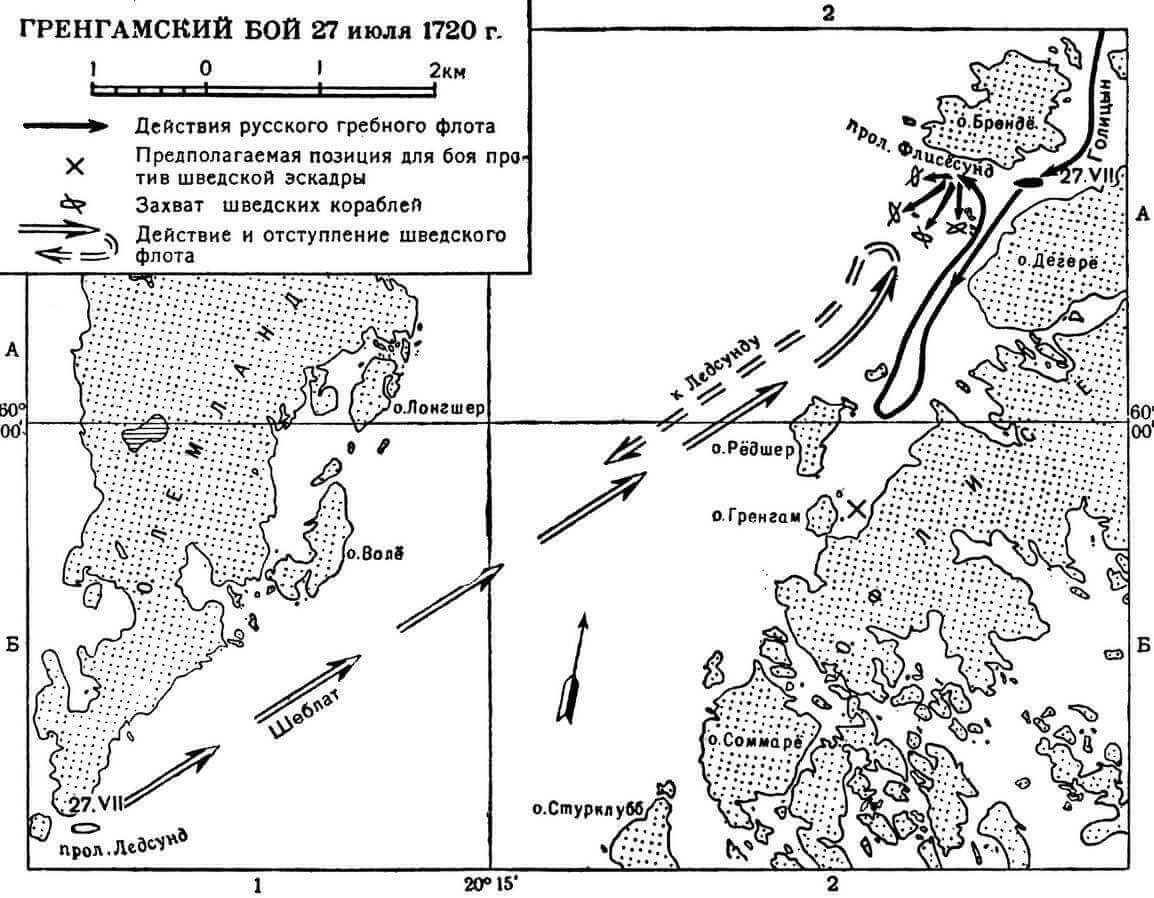 Карта сражения у острова Гренграм